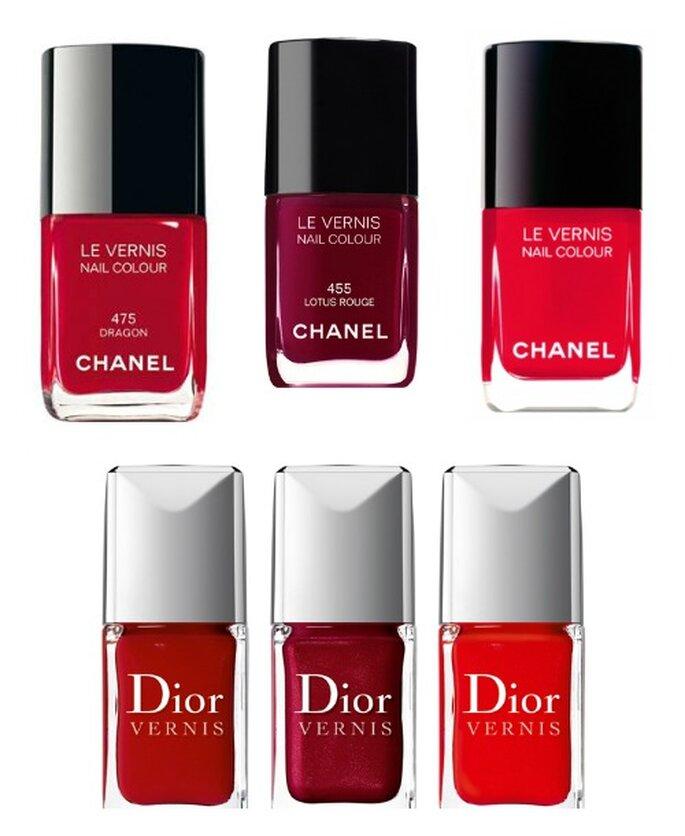 In alto tre smalti dal fucsia al bordeaux di Chanel Le Vernis, sotto le tinte di Dior Vernis. Queste due marche sono il top!