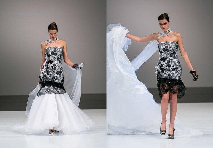 Un vestido de novia original que se transforma en un elegante traje de coctel. Toi Spose 2014