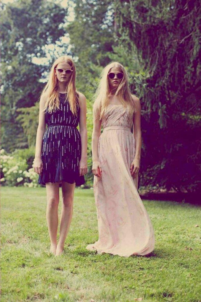 Vestidos de fiesta para boda 2014 en color oscuro y rosa pastel - Foto Erin Fetherston