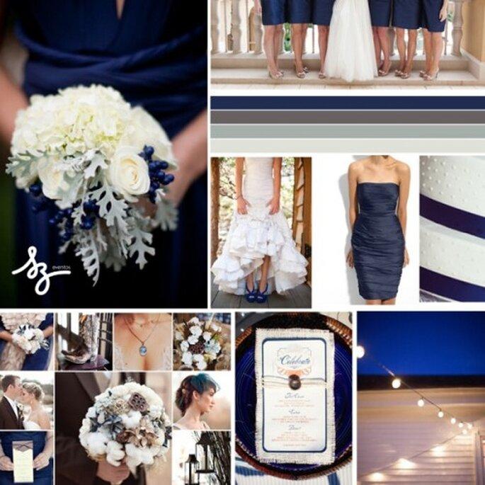 Collage de inspiración para decorar tu boda con tonos azul intenso - Foto Wedding Wire y Blushing Bride Blog