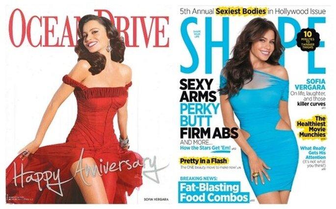 Porta de las revistas Ocean Drive (enero de 2011) y Shape Magazine. Fotos: www.sofiavergara.com