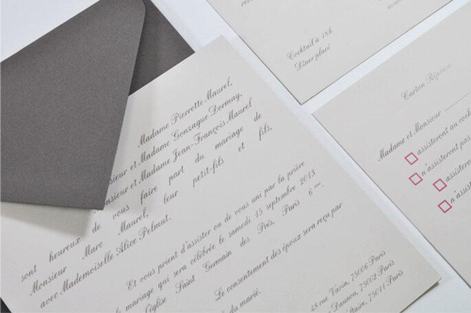Faire-part de mariage classique couleur taupe & grège format carré 2013 pour l'Art du Papier - Crédit photo : l'Art du Papier