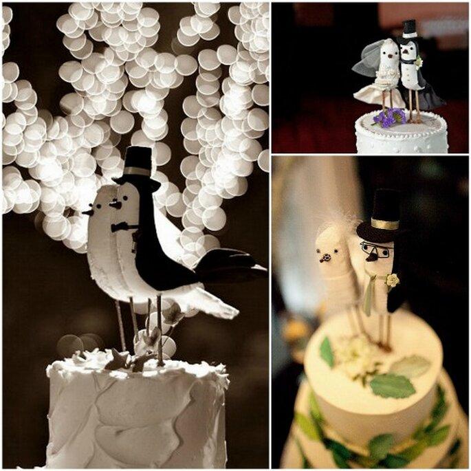 Figuras para el pastel con forma de pajaritos de etiqueta, de Le Petit Oiseau