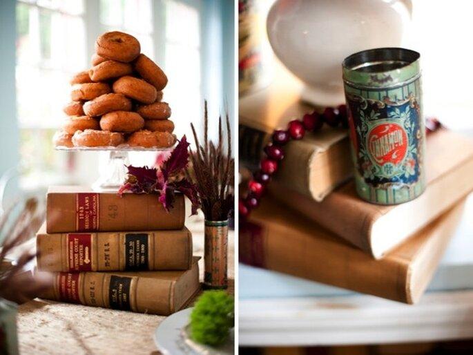 Libros en la decoración de tu boda - Foto Robin Nathan Photography