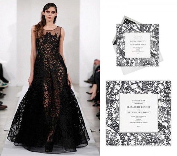 Elegante invitación con detalles en color negro - Foto Oscar de la Renta, Paperless Post