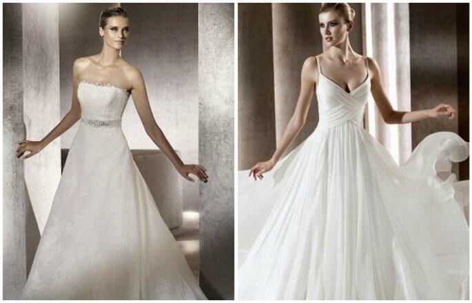 Dos de los vestidos de novia que te harán parecer más delgada. Foto Pronovias y Elie Saab