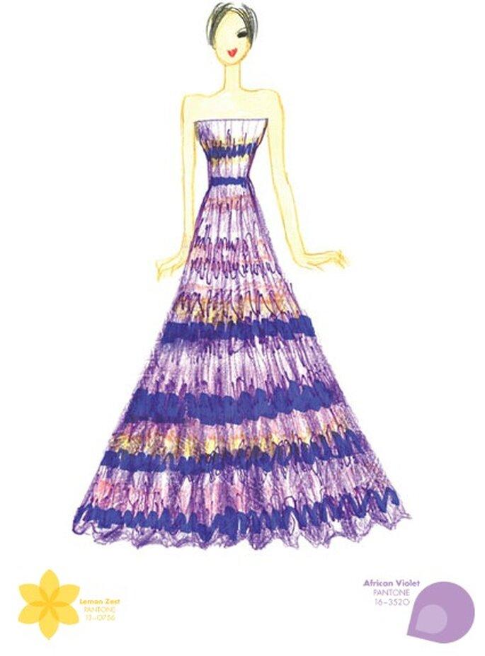 Color: violeta africana. Ilustración: Tadashi Shoji. Foto: Pantone