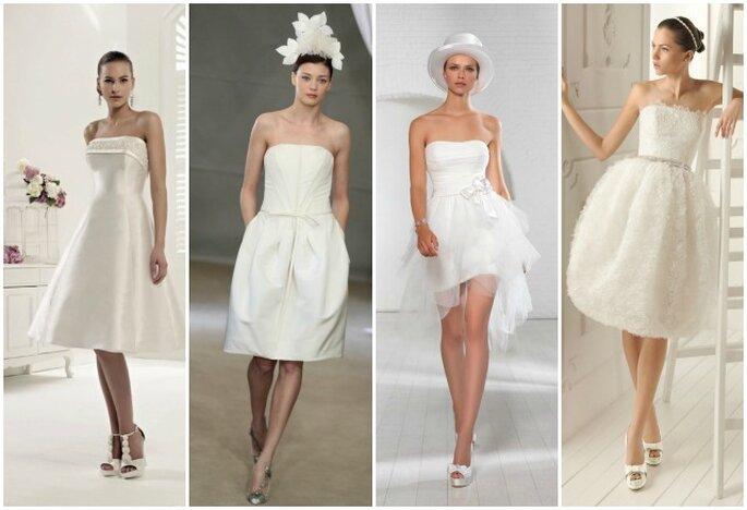 Abiti da sposa corti. Da sinistra Colet 2013 by Nicole Spose,Carolina Herrera Bridal Collection 2013, Egò Spose, Aire Barcelona 2013.