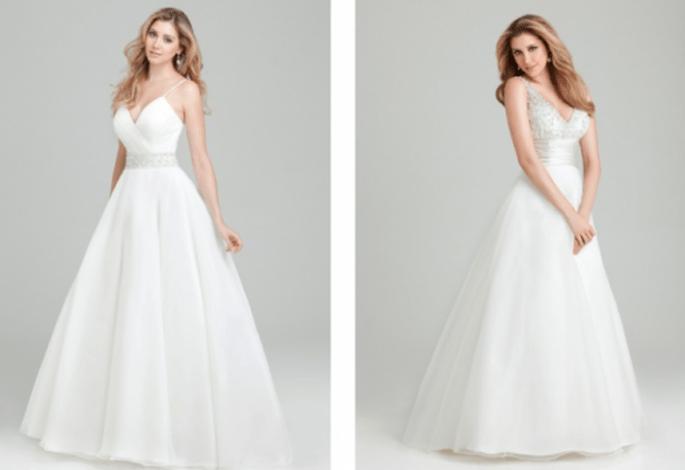 Vestidos de novia con tirantes discretos adornados con pedrería y brocados - Foto Allure Bridals