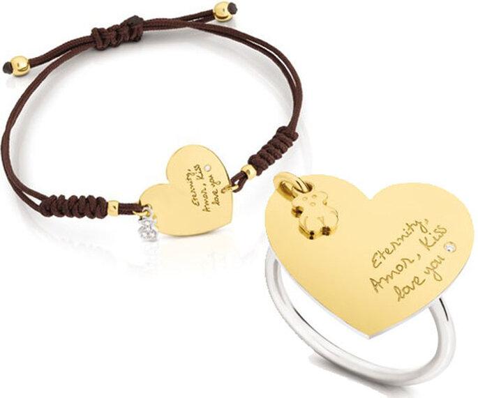 Pulsera en oro amarillo, diamantes y cordón de nylon marrón y sortija de oro amarillo, plata de primera ley y diamantes de Tous