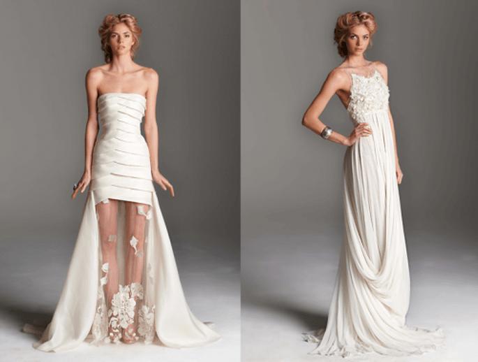 Vestidos de novia largos. Izquierda con transparencias y cola superpuesta. Derecha con inspiración en diosa griega - Foto Rafael Cennamo