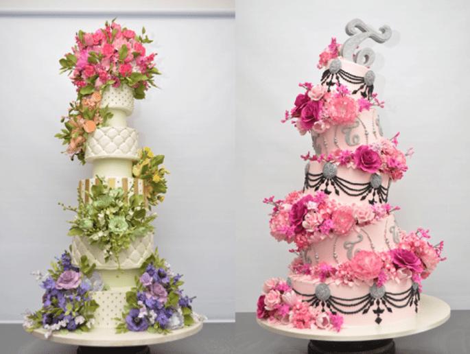 Pasteles de boda divertidos y elegantes con detalles de flores coloridas - Foto Sylvia Weinstock
