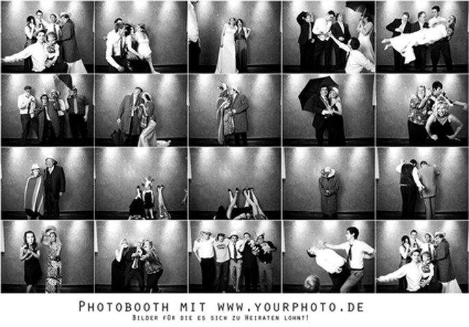 Photobooth - ein Riesenspaß für Eure Hochzeitsgäste. Foto: www.yourphoto.de