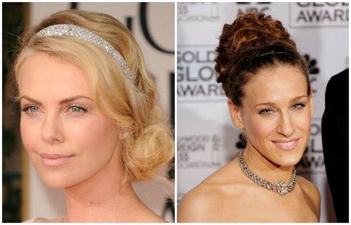 Charlize Theron e Sarah Jessica Parker hanno scelto di abbellire la loro acconciatura con un cerchietto. Foto Youtube