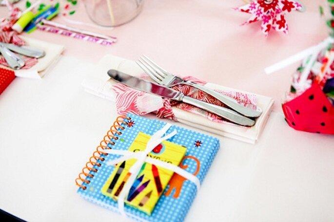 Un piccolo omaggio creativo per i più piccoli. Foto: Orchard Cove Photography via stylemepretty.com