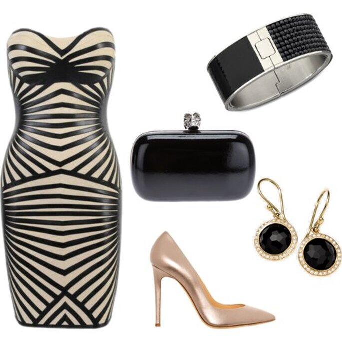 Look de fiesta glam en color negro y nude - Fotos brazalete de Swarovski, clutch de Alexander McQueen, Vestido de LadyFashionSense, stilettos de Alejandro Ingelmo, aretes de Rock Candy. Collage hecho en Polyvore por Fashionabilia
