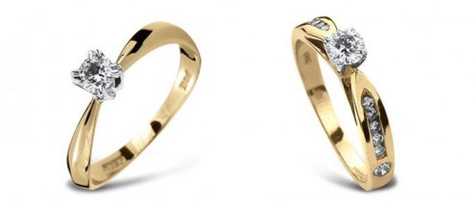 Anillos de compromiso de oro amarillo con diamante solitario - Foto Guvier joyería y relojería