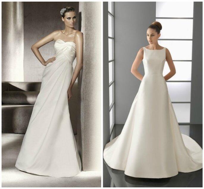Dos vestidos sencillos de novia. Foto: Pronovias y Aire