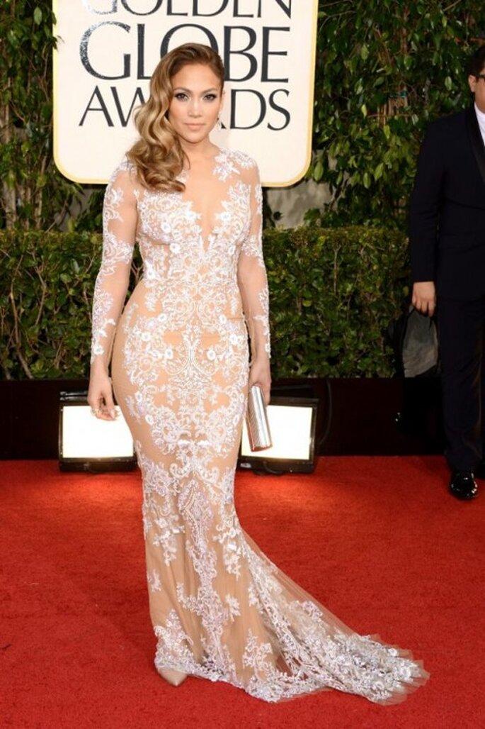 Jennifer Lopez con un vestido Zuhair Murad en los Golden Globes 2013 - Foto Zuhair Murad Facebook