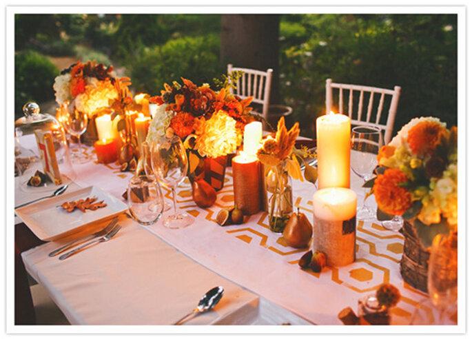Recepción de bodas inspirada en Acción de Gracias. Foto de Christine Farah Photography