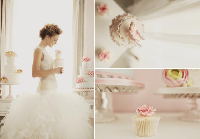 Pastel de boda en color rosa. Fotografía Roberto y María