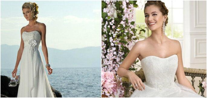 Créditos: foto izquierda de Todo Novios/ foto derecha de The Bridal Shop novias
