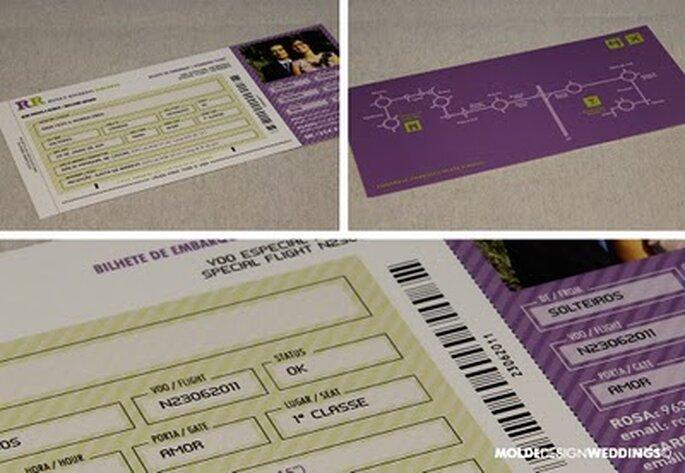 Convite de Casamento em forma de bilhete de avião
