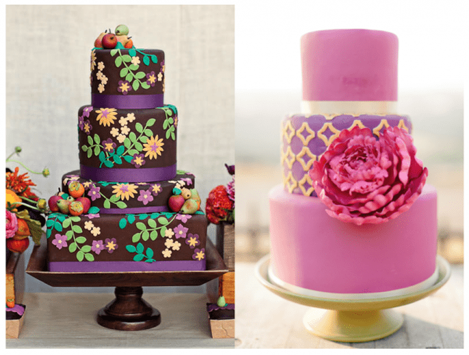 Pasteles de boda multicolor para 2014 - Fotos April Smith y Erin Hearts Court