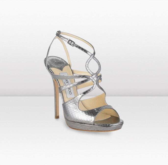Noa, sandali in argento brillante con tacco stiletto