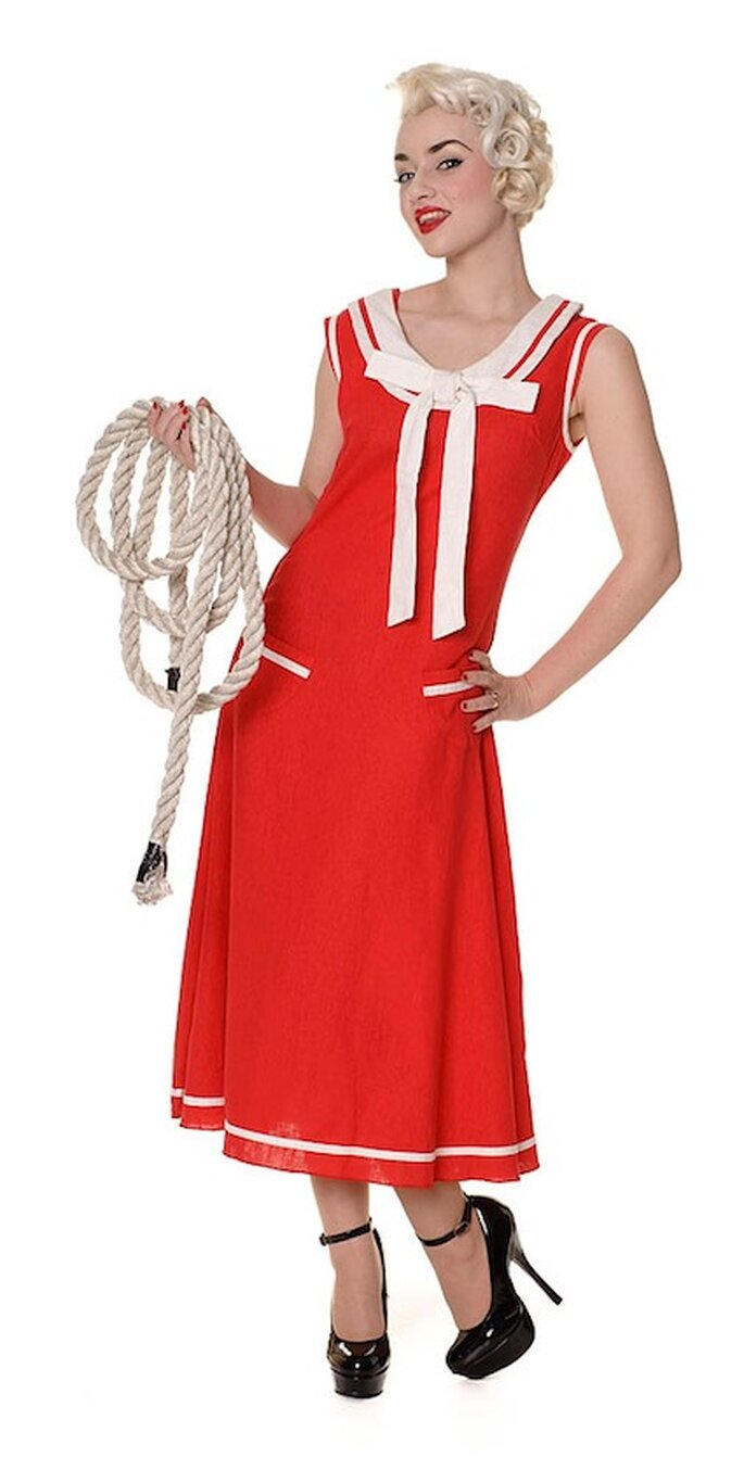 Abendkleid aus den 40er Jahren in leuchtendem Rot - Foto: ©Collectif