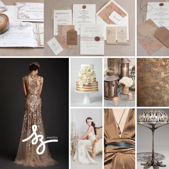 Una boda en color bronce - Fotos de Wiley Valentine, Coco Palma, Krikor Jabotian, Rachel Peters Photography