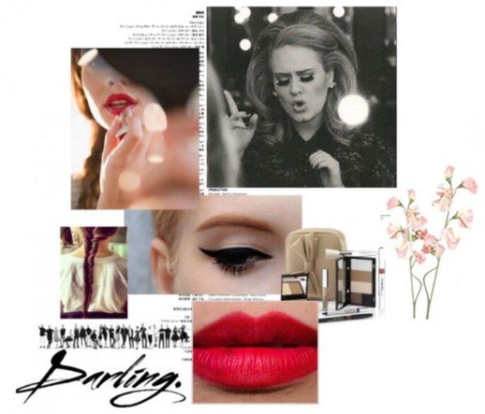 Inspiracion en el look de Adele para boda - Foto Sitio oficial de Adele, maquillaje saksfifthavenue.com, labial rojo, maquillaje rojo temptalia.com, delineador pinterest.com,