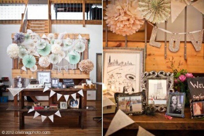 Elige una decoración con objetos rústicos y avejentados - Foto Christina G Photography