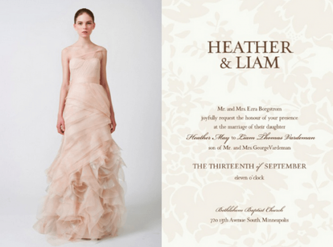 Invitación de boda inspirada en el modelo Farrah - Foto Vera Wang
