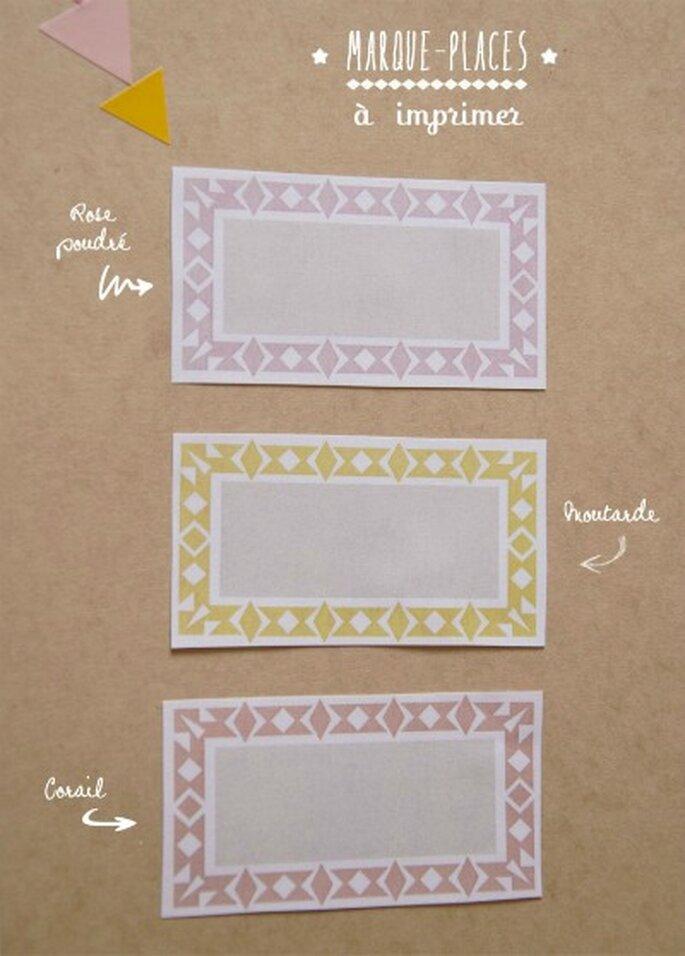Marque-places à imprimer, rien de plus simple ! -Source : Mariages et Babillages