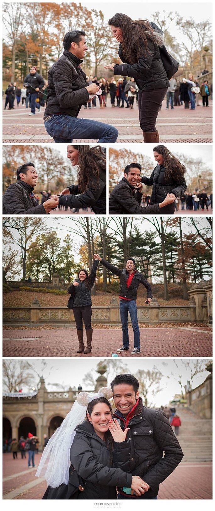 Romántico compromiso de Luisa y Guillermo en Central Park, Nueva York - Foto Marcos Valdés