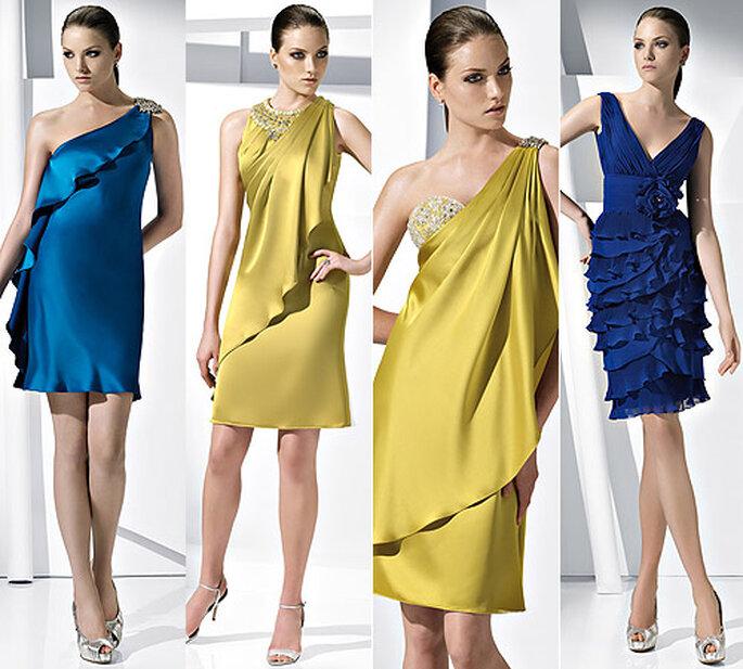 Vestidos de fiesta con capa en pistacho y azul, de Pronovias 2011