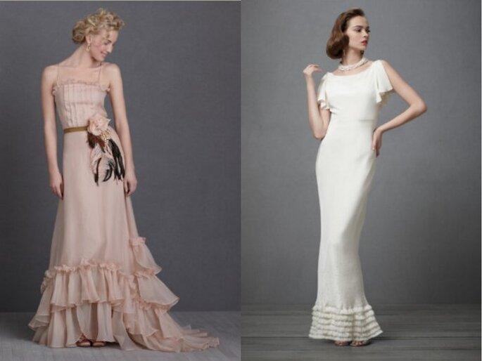 """Due abiti da sposa d'ispirazione Vintage: """"Sweet Tea"""" e """"Iced Confection"""". Foto: Bhldn"""