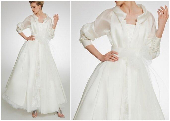 Vestido de novia con gabardina y cinturón con moño. Patricia Avedaño