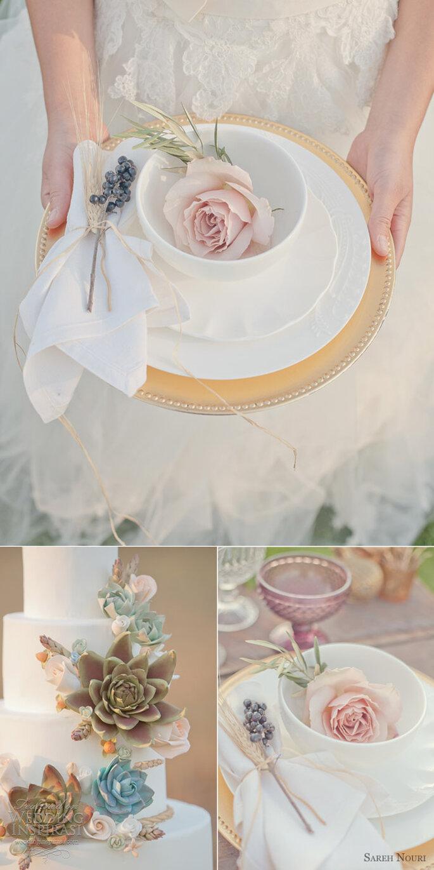 Detalles de boda en color rosa pastel - Foto Millie B Photography