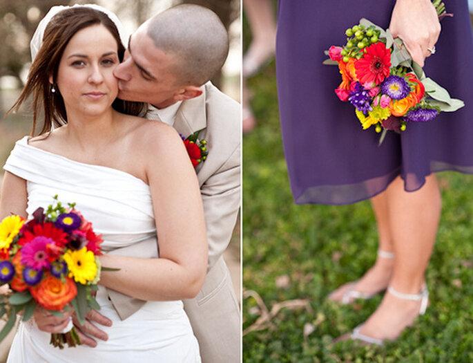 El morado es otro color predilecto en las bodas. Foto de Amy Majors