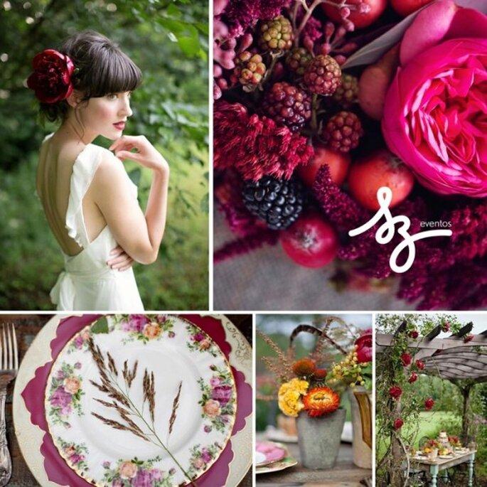 Boda inspirada en frutos rojos - Fotos: Peaches & Mint y Paperlily Photography