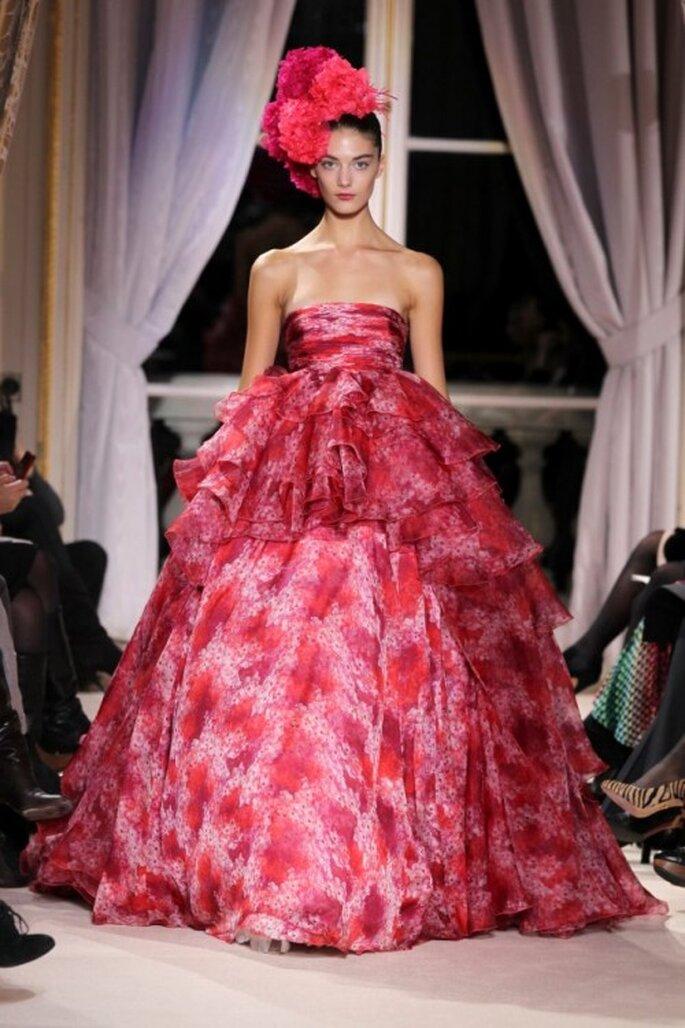 Vestido de novia color rosa de la actriz Jessica Biel - Foto Giambattista Valli Facebook