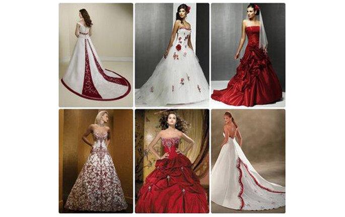 Distintas propuestas de vestidos de novia rojos