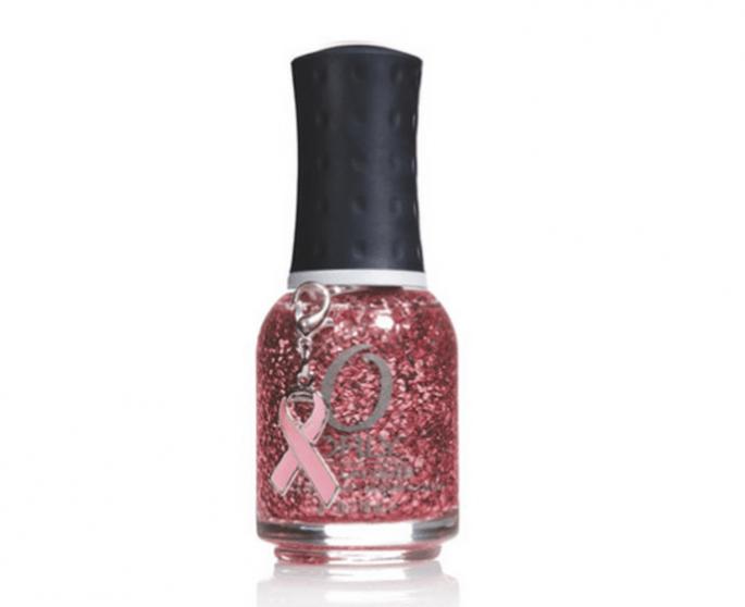 Barniz rosa con destellos metálicos para apoyar la prevención del cáncer de mama - Foto Orly