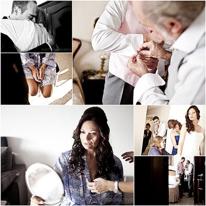 Los novios, preparándose antes de la boda. Fotos: Evenpic