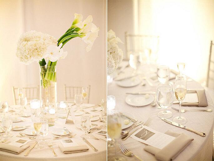 Decoración de mesas en blanco. Foto: Merry Photography