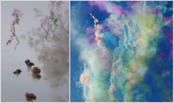 Pirotecnia diurna con humos de colores. Fotos: Carnaval Fire Works