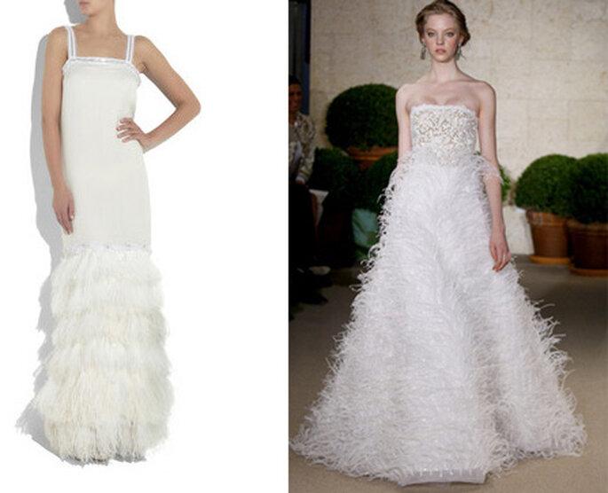 Vestidos de novia con plumas de Lanvin y Óscar de la Renta