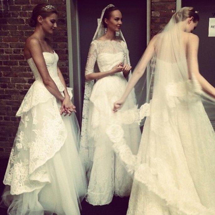 Vestidos de novia Monique Lhuillier en backstage - Foto Facebook oficial